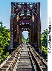 Old Railroad Trestle and Bridge - Vanishing Point View of an...