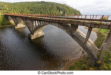 old railway bridge on the circum-baikal railraod in Siberia,...