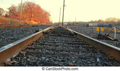 Old railway in forest Autumn morning sun railway