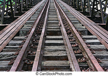 Old railway track on the bridge