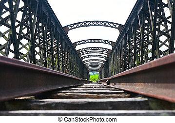 Old railway track on the bridge