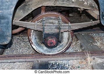 Old railway wheel from a car on the narrow gauge railway.
