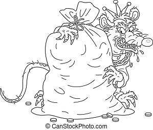 Malicious and pitiless character with a shabby tail, money-grubbing, wearing a gold crown and a chain, grinning and hugging a big bag of coins, black and white outline vector cartoon illustration for a coloring book page
