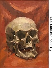 Old realistic human skull on red, classical oil painting