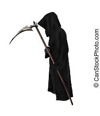 Old Reaper with scythe on white background
