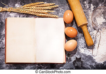 Old recipe book with ingredients for cooking