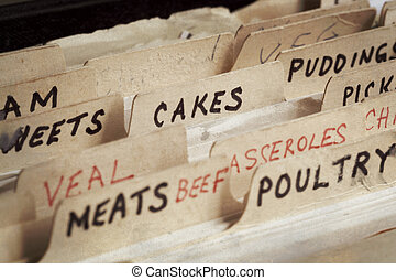 Old Recipe Box - Old recipe box, with sections for cakes,...