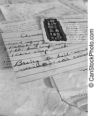 Old Recipes - Old tattered stack of handwritten recipes in...