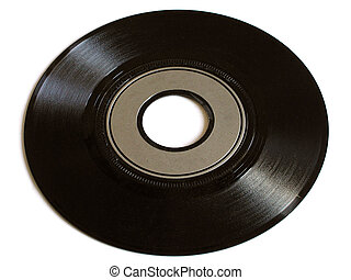 Old Record - Old vinyl record - single. White background.