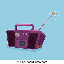 Old record player radio. Vector flat cartoon illustration