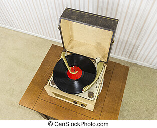 Old Record Player with Vintage Vinyl Disk