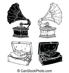 Hand drawn vector record players. Easily editable colors.