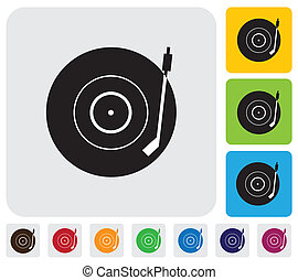 Old record player(turntable) symbol(icon)-minimalistic vector graphic. The illustration has a simple icon green,orange & blue backgrounds & is useful for websites,blogs,documents,printing,etc