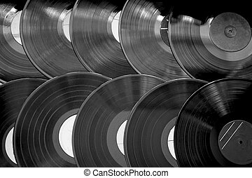Old records in a row, black and white