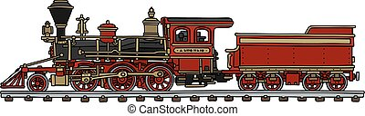 Hand drawing of a classic red american steam locomotive with a scuttle - not a real model