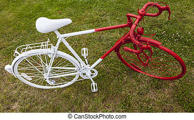 Old Red and White Bicycle