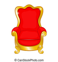 Old red antique armchair on a white