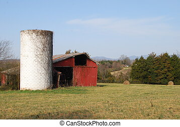 Old Red Barn and Old White Silo