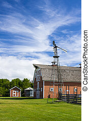 Old Red Barn on Farm