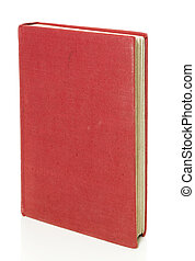 Old red book isolated on white with clipping path.