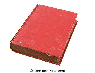 Old red book isolated over white with clipping path