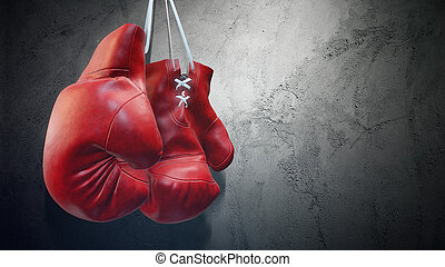 Old red boxing gloves hang on nail on texture wall with copy space for text. High resolution 3d render