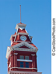 Old Red Brick Clock Tower