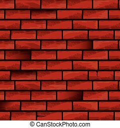 old red brick grunge wall vector background.