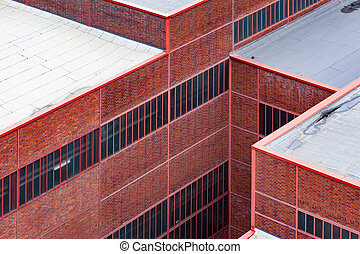 Old red brick industrial factory building detail