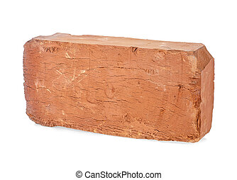 Old red brick isolated on a white background, closeup. Full depth of field.