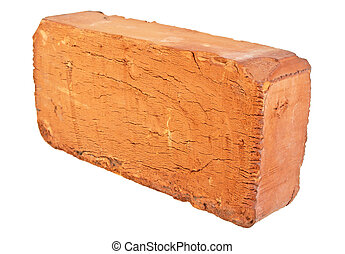 Old red brick isolated on a white background