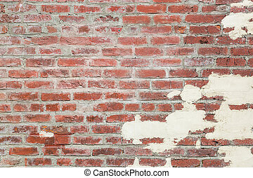 Old Red Brick Wall Background Texture with Plaster