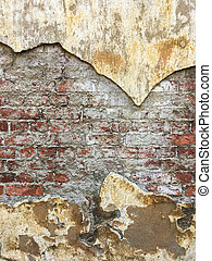 Old red brick wall with damaged plaster texture background