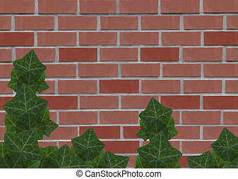Old red brick wall with ivy