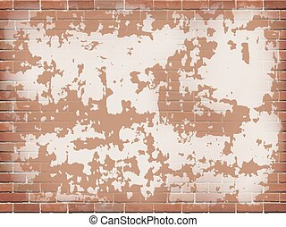 Old red brick wall with peeling plaster.