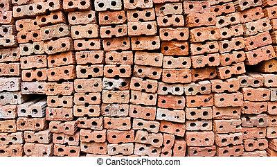 Old red bricks wall