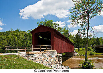 Old Red Bridge by Stone Wall