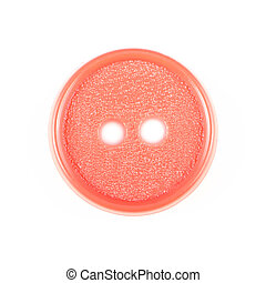 Old red button isolated on white background