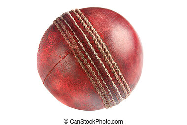Old red cricket ball.
