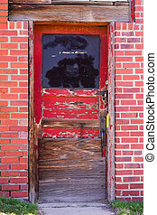 Old Red Door in Brick Wall