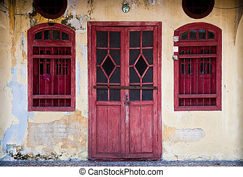 Old red door - Old red grunge door. Old city collection.