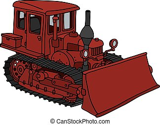 Old red dozer - Hand drawing of a classic dark red bulldozer