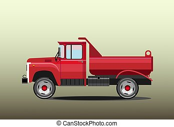 Old red dump truck