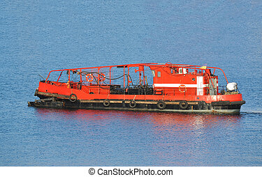 Old red fireboat