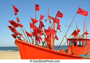 old, red, fishing boat,
