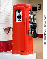 Old red gas pump