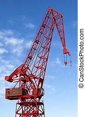 Old red harbour crane