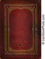 Old red leather texture with gold decorative frame. Matching...