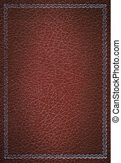 Old red leather texture with silver decorative frame