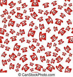 Old Red Phone Seamless Pattern